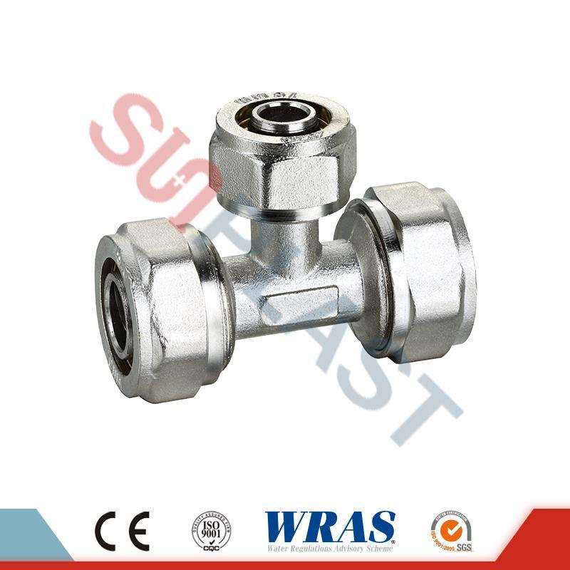 Brass Compression Equal Tee For PEX-AL-Multilayer PEX Pipe