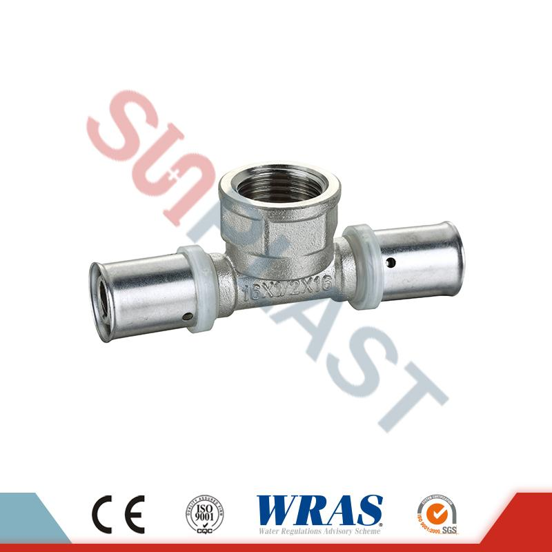 Brass Press Female Tee Para sa PEX-AL-PEX Multilayer Pipe